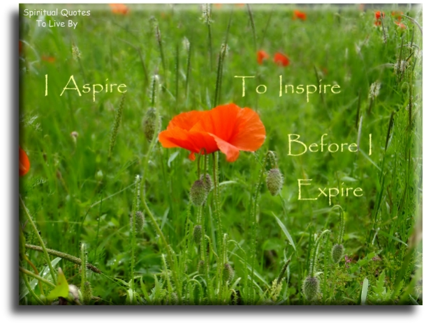 I aspire to inspire before I expire - (unknown) - Spiritual Quotes To Live By