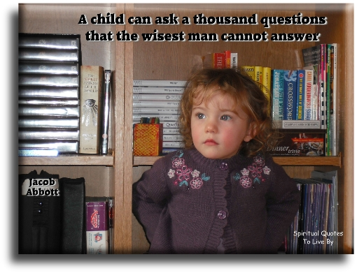 Jacob Abbott quote: A child can ask a thousand questions that the wisest man cannot answer. - Spiritual Quotes To Live By