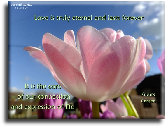 Love is truly eternal and lasts forever, it is the core of our connection and expression of life - Kristine Carlson - Spiritual Quotes To Live By