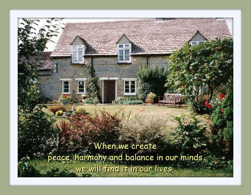 English country cottage & garden with quote