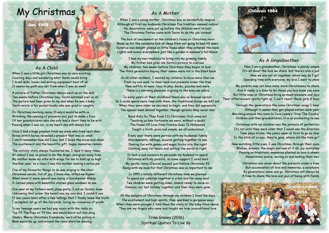 My Christmas (as a child, mother and grandmother) - inspirational poem by Trina Graves of Spiritual Quotes To Live By