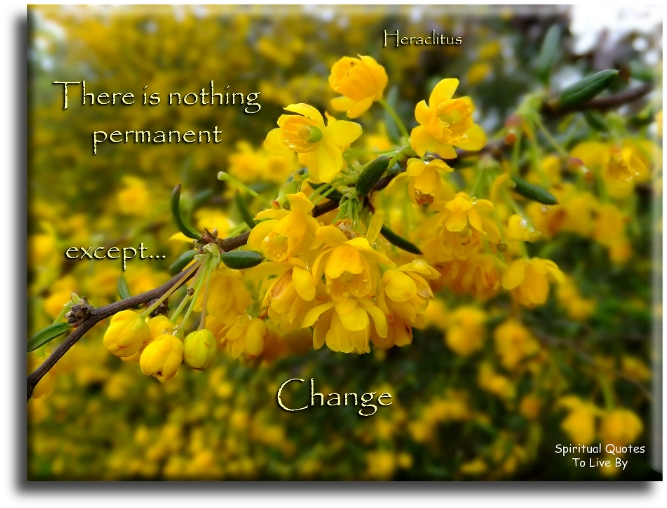 There is nothing permanent except change - Heraclitus - Spiritual Quotes To Live By