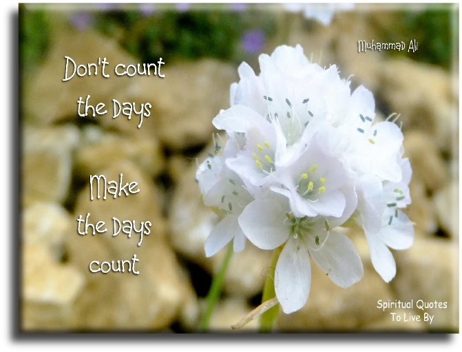 Muhammad Ali quote: Don't count the days...  Make the days count. - Spiritual Quotes To Live By