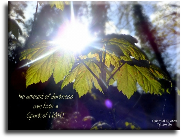 No amount of darkness can hide a spark of light - Spiritual Quotes To Live By