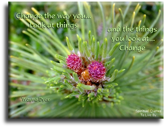 Wayne Dyer quote: Change the way you look at things and the things you look at change. - Spiritual Quotes To Live By