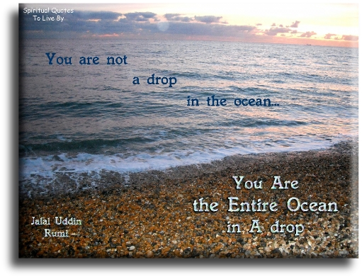 Rumi quote: You are not a drop in the ocean, you are the entire ocean in a drop. - Spiritual Quotes To Live By