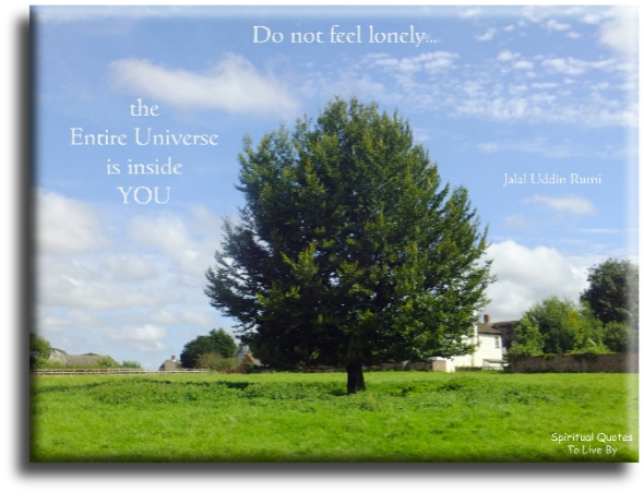 Do not feel lonely, the entire Universe is inside you - Rumi - Spiritual Quotes To Live By