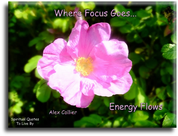 Alex Collier quote: Where focus goes, energy flows. Spiritual Quotes To Live By