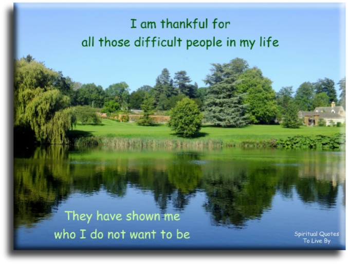 I am thankful for all those difficult people in my life.. they have shown me who I do not want to be - Spiritual Quotes To Live By
