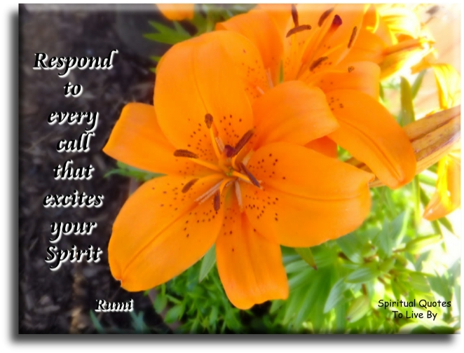Jalal Uddin Rumi quote: Respond to every call that excites your Spirit. Spiritual Quotes To Live By
