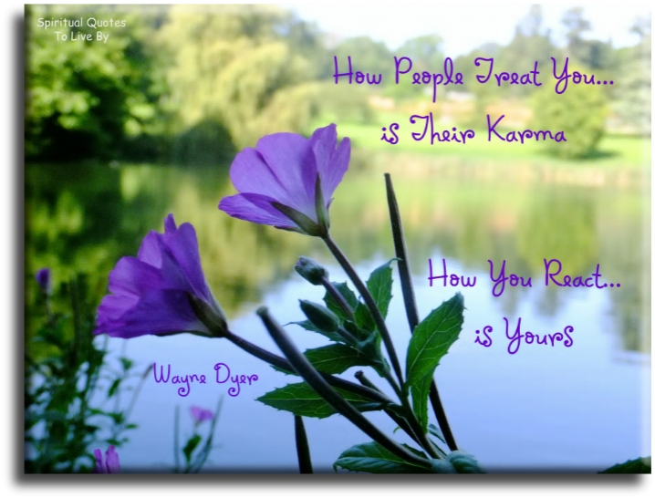 Wayne Dyer quote: How people treat you is their karma... How you react is yours.- Spiritual Quotes To Live By