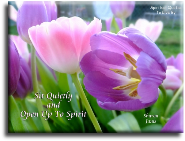 Sit quietly and open up to spirit - Sharon Janis - Spiritual Quotes To Live By
