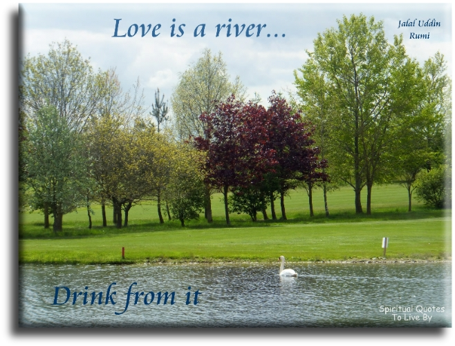 Rumi quote: Love is a river, drink from it. - Spiritual Quotes To Live By