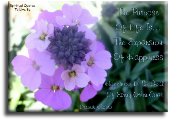 Deepak Chopra quote: The purpose of life is the expansion of happiness.  Happiness is the goal of every other goal. - Spiritual Quotes To Live By