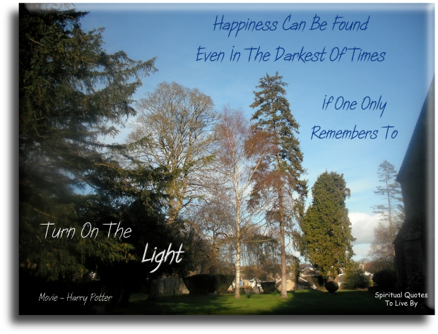 Happiness can be found even in the darkest of times, if one only remembers to turn on the light - Movie, Harry Potter - Spiritual Quotes To Live By