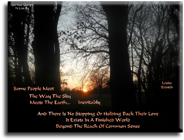 Louise Erdrich quote: Some people meet the way the sky meets the Earth... inevitably, and there is no stopping or holding back their love.. - Spiritual Quotes To Live By