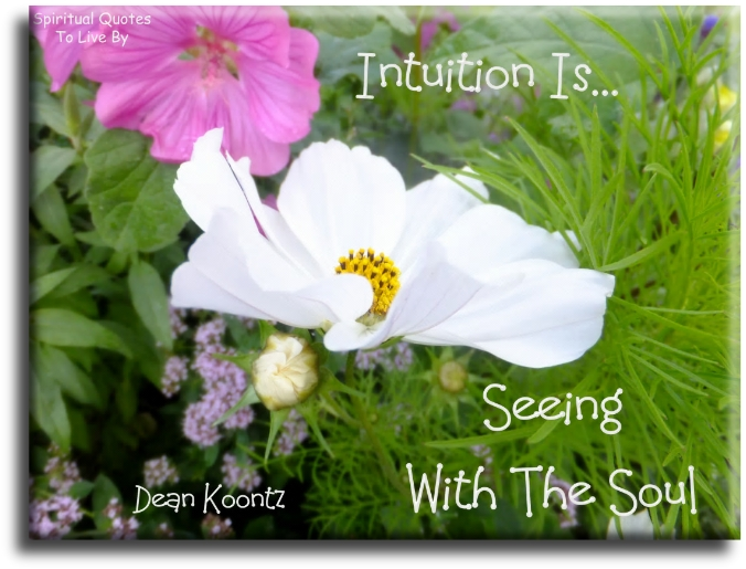 Dean Koontz quote: Intuition is seeing with the Soul. - Spiritual Quotes To Live By