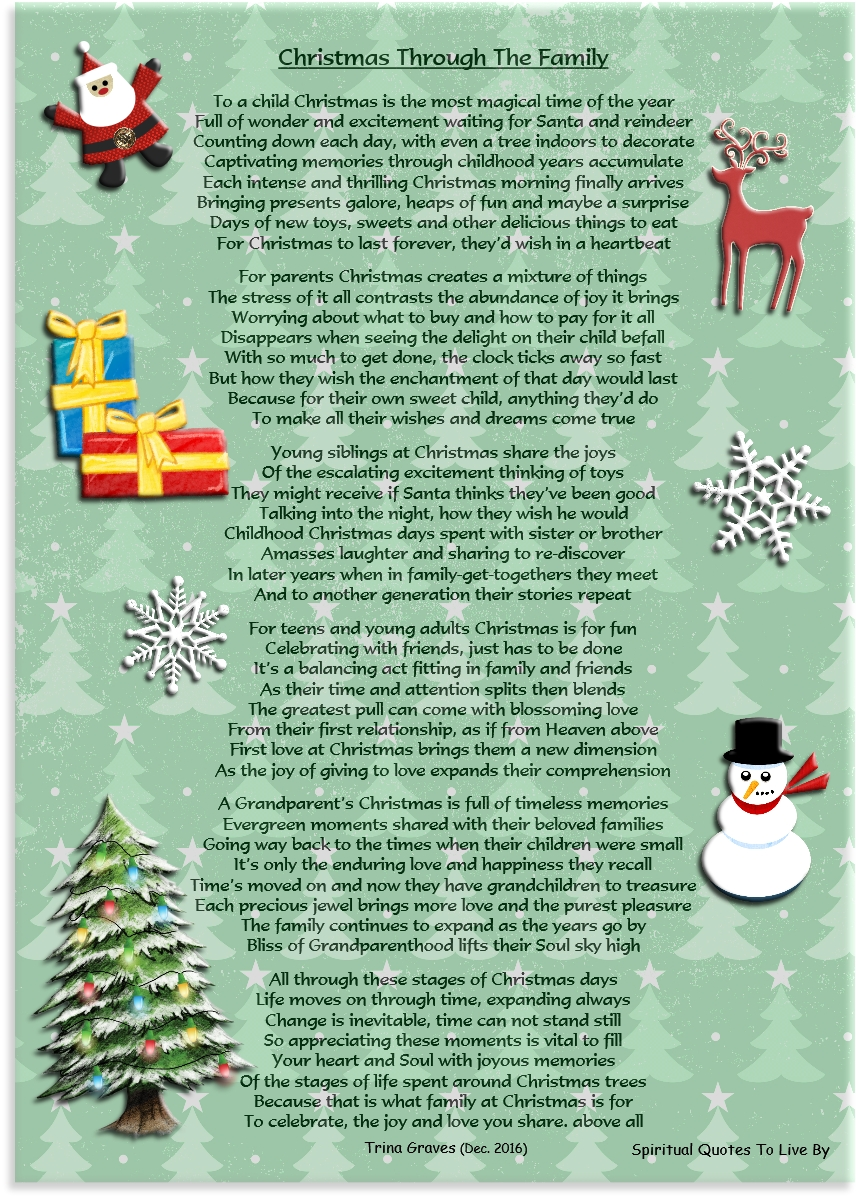 Christmas Through The Family - inspirational poem by Trina Graves of Spiritual Quotes To Live By