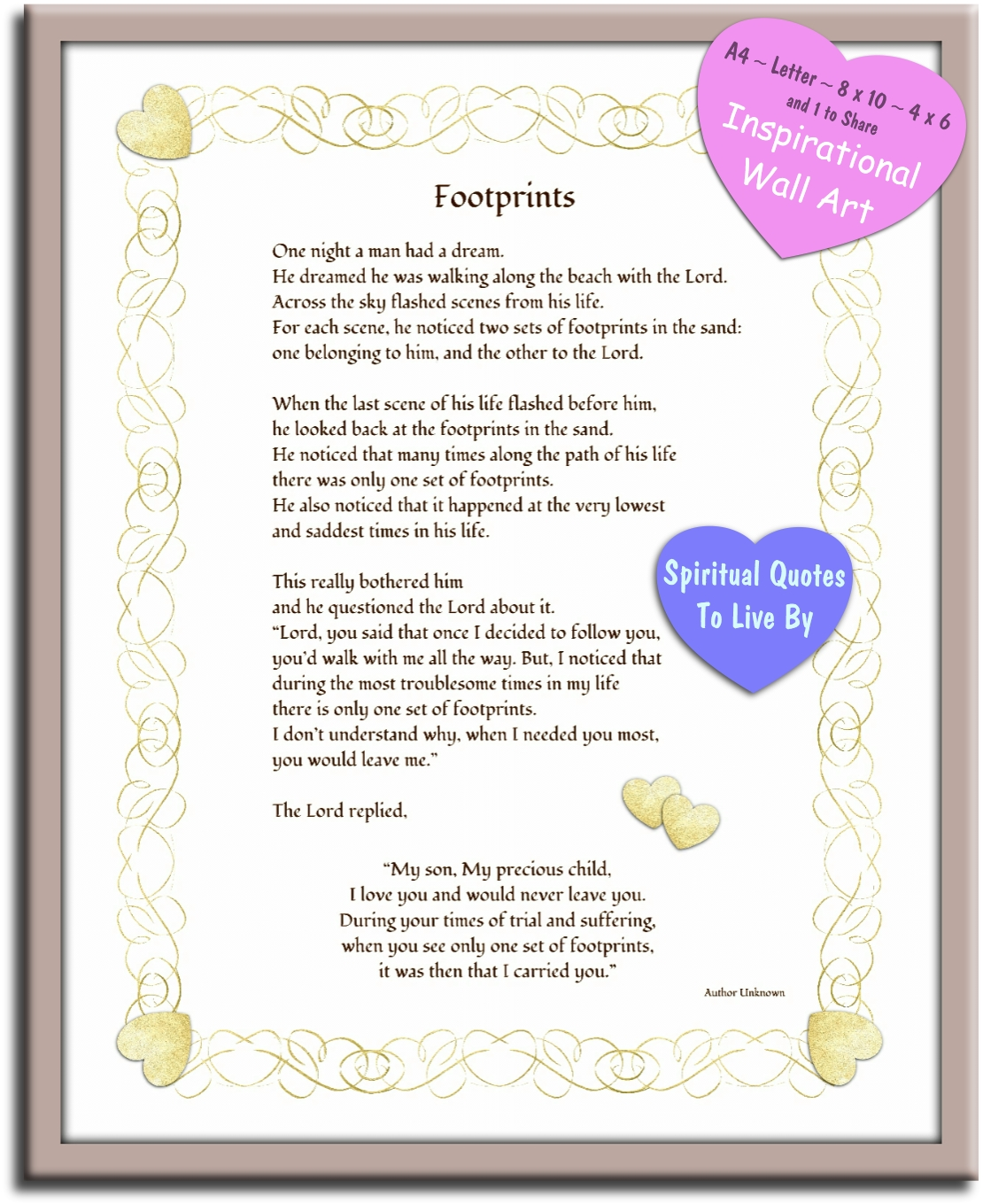 Footprints - Inspirational poem wall print - instantly available to download from Spiritual Quotes To Live By on Etsy