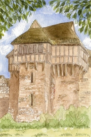 Stokesay Castle watercolour by Sandra Reeves