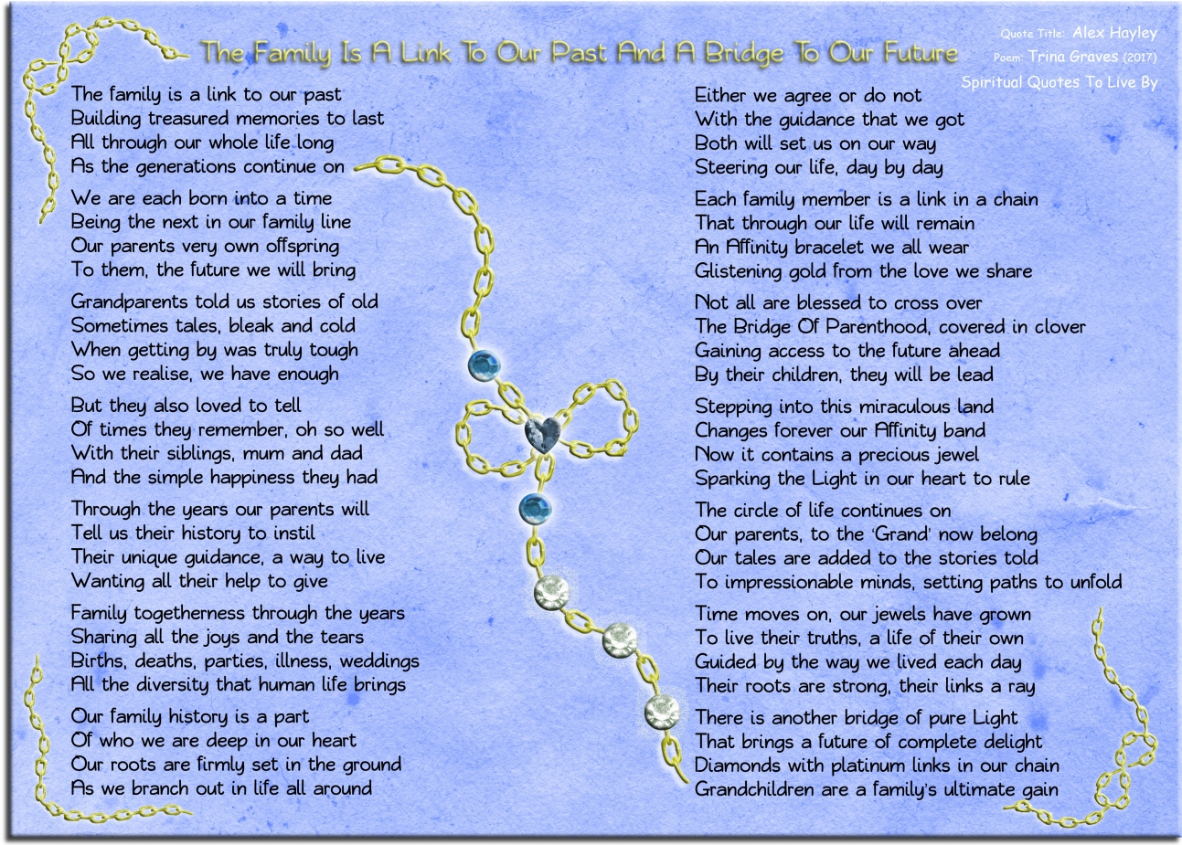 The family is a link to our past and a bridge to our future. Inspirational poem using quote from Alex Hayley as the title and theme - Poem by Trina Graves - Spiritual Quotes To Live By