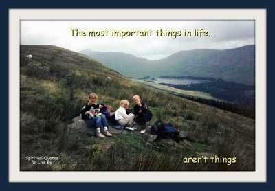 children on hill in Wales - with quote