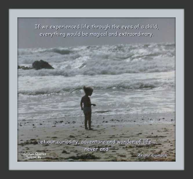 Toddler on a beach with quote