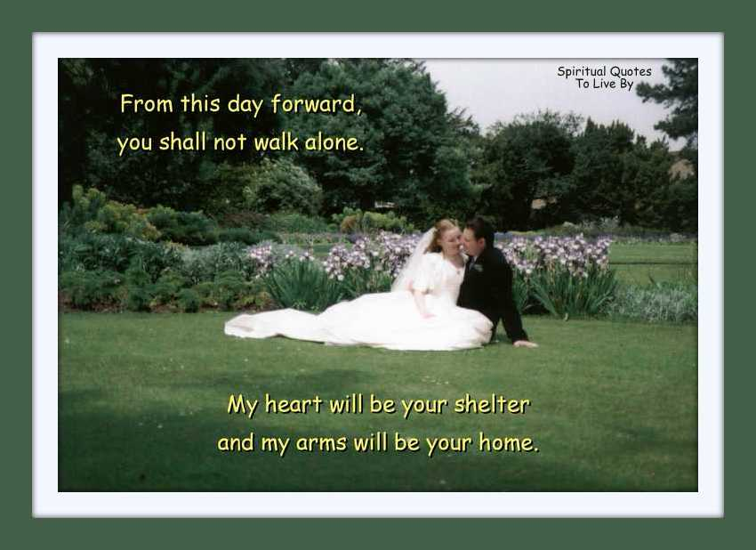 Wedding photo with quote