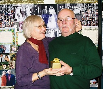 Couple celebrating 50th wedding anniversary