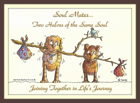 Soul mates two halves of the same soul - illustrated by Sandra Reeves - Spiritual Quotes To Live By