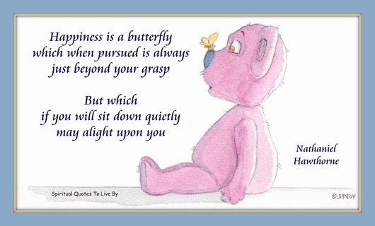 Happiness is - quote on teddy bear watercolour by Sandra Reeves