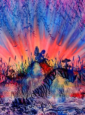 Fairy - Encaustic art by Sandra Reeves