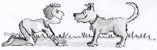 Man and dog cartoon by Sandra Reeves