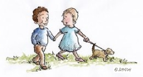 Children walking dog by Sandra Reeves 