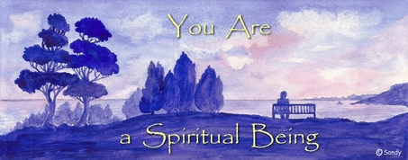 You are a Spiritual Being - quote on watercolou by Sandra Reeves